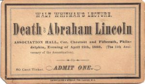 Ticket for Whitman's lecture on the death of President Lincoln